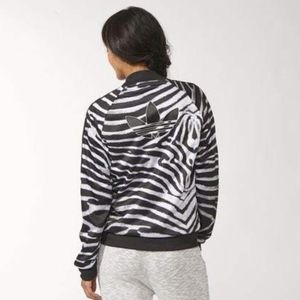 Adidas Zebra Print Zip up track jacket size M